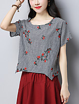 Women's Casual/Daily Simple Street chic Summer Loose T-shirt Check Embroidered Round Neck Short Sleeve Cotton /Linen Thin