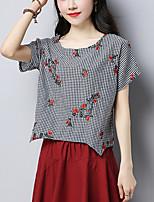 Feminino Camiseta Simples Moda de Rua Verão,Quadriculada Bordado Algodão Linho Decote Redondo Manga Curta Fina