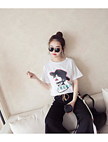 Women's Going out Simple Summer T-shirt Pant Suits,Solid Round Neck Short Sleeve
