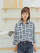 Women's Going out Casual/Daily Simple Cute Spring Summer Shirt,Check Shirt Collar Long Sleeve Cotton Thin