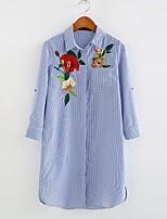Camicia Da donna Sensuale Semplice Moda città Estate,A strisce Fantasia floreale Ricamato Colletto Cotone Manica lungaSottile Medio