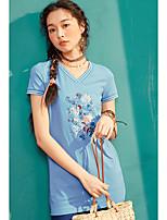 Damen Stickerei Einfach Alltag Normal T-shirt,V-Ausschnitt Kurzarm Baumwolle