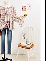 Tee-shirt Femme,Couleur Pleine Quotidien Rendez-vous simple Manches Longues Col Arrondi Coton