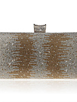 Women Evening Bag Polyester All Seasons Formal Event/Party Wedding Minaudiere Crystal/ Rhinestone Clasp Lock Silver Gold