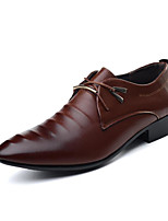 Men's Wedding Shoes Comfort PU Spring Casual Dark Brown Brown Black Flat