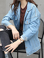 Women's Casual/Daily Simple Spring Fall Denim Jacket,Solid Square Neck Long Sleeve Regular Others