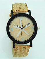 Mulheres Relógio de Moda Quartzo de madeira Couro Banda Flor Casual Bege
