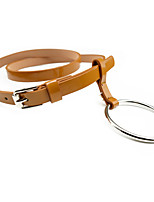 Women's Fashion Casual Macrocyclic Ring Circled Leather Pin Buckle Belt