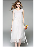 OYCP Women's Daily Sheath DressSolid Round Neck Midi Sleeveless Polyester Summer High Rise Micro-elastic Thin