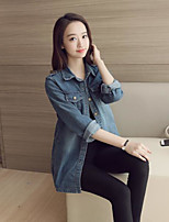 Women's Casual/Daily Simple Spring Denim Jacket,Solid Shirt Collar Long Sleeve Regular Cotton