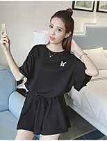 Women's Casual/Daily Simple T-shirt Skirt Suits,Solid Round Neck ½ Length Sleeve