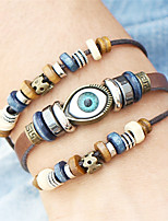 Fashion PunkTurkish Evil Eye Bracelets Wristband Beads Leather Bracelet Bangles Ethnic Vintage Jewelry For Women Men Bijouterie