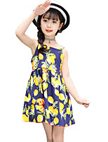 Girl's Solid Color Floral Dress,Cotton Summer Sleeveless