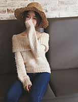 Women's Going out Regular Cardigan,Solid Strapless Long Sleeve Cotton Spring Thick Micro-elastic