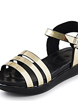 Girls' Sandals First Walkers Cowhide Spring Fall Casual Walking First Walkers Magic Tape Low Heel Gray Gold Flat
