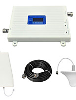 Dual Band 2G GSM 900mhz 4G DCS 1800mhz Mobile Phone Signal Booster Repeater with Log Periodic Antenna / Ceiling Antenna / Cable / LCD Display / White