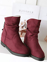 Women's Boots Comfort PU Spring Casual Comfort Burgundy Blue Black Flat