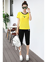 Women's Work Simple Summer T-shirt Pant Suits,Solid Round Neck Short Sleeve