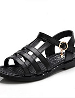 Girls' Sandals First Walkers PU Spring Fall Casual First Walkers Magic Tape Flat Heel Black White Flat