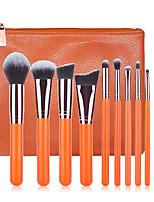 11pcs Orange Makeup Brush Set Blush Brush Eyeshadow Eyeliner Brush Eyelash Brush dyeing Brush Powder Brush Sponge Applicator Synthetic Hair