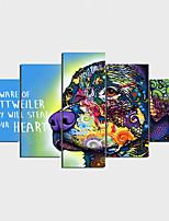 Impression sur Toile Moderne Inspiré de la nature Décoration artistique/Rétro,Cinq Panneaux Format Horizontal Imprimé Décoration murale