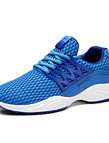 Men's Sneakers Comfort Tulle Spring Summer Athletic Casual Comfort Lace-up Flat Heel Black Gray Blue Flat