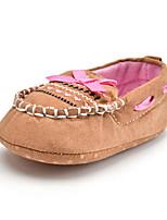 ילדים תינוק נעליים ללא שרוכים צעדים ראשונים בד סתיו חורף קזו'אל שמלה מסיבה וערב צעדים ראשונים פפיון אפליקציה עקב שטוח חאקי שטוח
