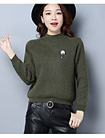Women's Daily Regular Pullover,Solid Round Neck Long Sleeve Cotton Fall Winter Medium Micro-elastic
