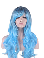 Synthetic Natural Wigs Long Curly Black/Blue Ombre Women Costume Wigs Cosplay Capless Wigs
