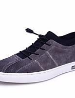 Men's Sneakers Comfort Pigskin Spring Casual Comfort Flat Heel Gray Black 1in-1 3/4in