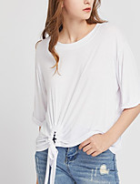 Women's Going out Simple T-shirt,Solid Round Neck Short Sleeve Cotton