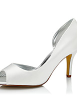 Women's Wedding Shoes Comfort Silk Spring Fall Wedding Party & Evening Dress Comfort Stiletto Heel Ivory 3in-3 3/4in