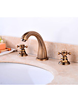 Contemporary Antique Widespread Widespread with  Brass Valve Two Handles Three Holes for  Antique Copper , Bathroom Sink Faucet