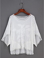Women's Daily Casual Going out Cute Spring Summer Shirt,Solid Round Neck 3/4 Length Sleeve Cotton