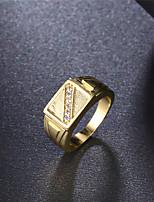 Bague Bague de fiançailles Zircon cubique Mode Classique Elegant Zircon Plaqué or Forme Ronde Bijoux PourMariage Soirée Fiançailles