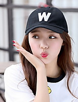 Women's Solid Color Summer W Letters Curved Eaves Baseball Cap