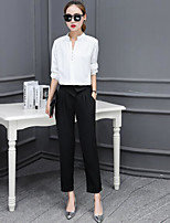 Women's Business Daily Simple Spring Blouse Pant Suits,Solid Shirt Collar Long Sleeve Micro-elastic