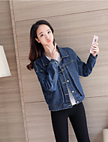 Women's Casual/Daily Simple Spring Denim Jacket,Solid Stand Long Sleeve Regular Cotton
