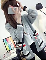 Women's Casual Regular Pullover,Striped Deep V Long Sleeve Cotton Fall Winter Medium Micro-elastic
