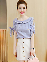 Women's Casual/Daily Simple Summer Shirt Skirt Suits,Solid Shirt Collar Short Sleeve Micro-elastic