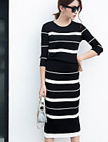Women's Going out Casual/Daily Party/Cocktail Sexy Simple Spring Fall T-shirt Dress Suits,Striped Crew Neck Long Sleeve Cotton Acrylic