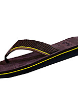 Men's Slippers & Flip-Flops Comfort Rubber Summer Outdoor Comfort Flat Heel Brown Black Under 1in