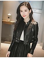 Для женщин Повседневные Весна Осень Кожаные куртки Круглый вырез,Современный Однотонный Короткая Длинный рукав,Полиуретановая