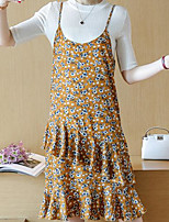 Women's Casual/Daily Simple Summer Blouse Dress Suits,Print Round Neck Sleeveless Micro-elastic