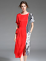 YHSPWomen's Going out Beach Holiday Simple Sophisticated Shift Sheath DressStriped Color Block Round Neck Midi Short Sleeve Polyester Summer