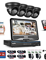 SANNCE® 8CH 4PCS 720P Weatherproof Security System 4IN1 1080P LCD DVR Supported TVI Analog AHD IP Camera 1TB HD