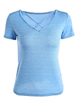 Women's Daily Casual Going out Sexy Spring Summer T-shirt,Solid V Neck Short Sleeve Cotton Thin