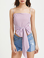 Women's Casual/Daily Sexy T-shirt,Striped Boat Neck Sleeveless Cotton Opaque