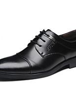Для мужчин Туфли на шнуровке Лакированная кожа Осень Зима Черный 2,5 - 4,5 см