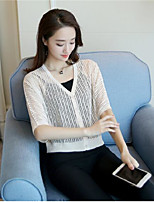 Women's Daily Casual Simple Short Pullover,Solid V Neck ½ Length Sleeve Cotton Spring Medium Micro-elastic